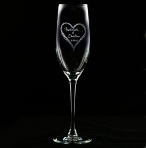 Engraved Wedding Heart Champagne Flute