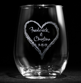 Engraved Wedding Heart Stemless Wine Glass