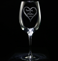Engraved Wedding Heart Wine Glass