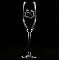 Engraved Wedding Wreath Champagne Flute