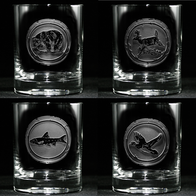 Engraved Wildlife Whiskey Scotch Glass Set