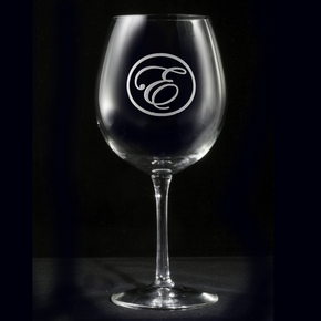 Etched Monogram Red Wine Glass