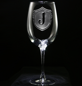Etched Monogrammed Shield Wine Glass