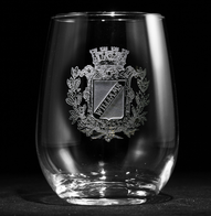 Family Crest Engraved Stemless Wine Glass