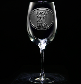 Finally Legal 21st Birthday Engraved Wine Glass