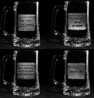 Guys Pickup Lines Engraved Beer Mugs