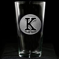 Initial in Circle Pint Pub Glass