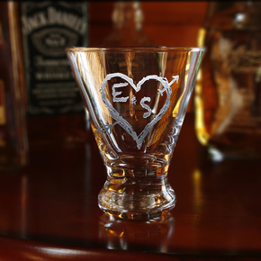Initials in Heart Engraved Martini Glass