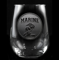 Marine Mom Stemless Wine Glass