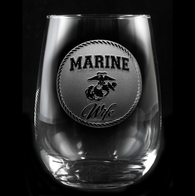 Marine Wife Stemless Wine Glass