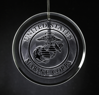Marines Engraved Glass Ornament