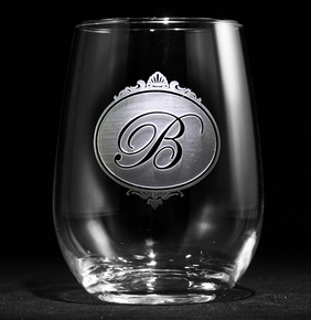 Monogram Stemless Wine Glass, Personalized