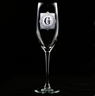 Monogrammed Antique Engraved Champagne Glass