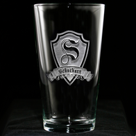 Monogrammed Shield Engraved Pub Pint Water Beer Glasses