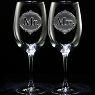 Mr. and Mrs. Engraved Wine Glass Set