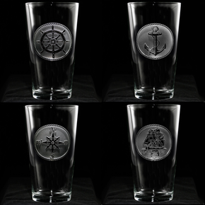 Nautical Beach Theme Glassware