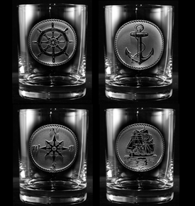 Nautical Beach Theme Whiskey Glasses