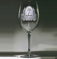 Personalized Etched Palm Tree Wine Glass
