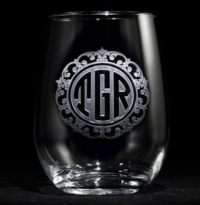 Personalized Etched Stemless Wine Glasses