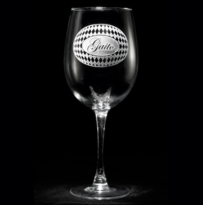 Personalized Harlequin Diamond Pattern Engraved Wine Glasses