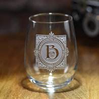 Personalized Initial Boxed Stemless Wine Glass