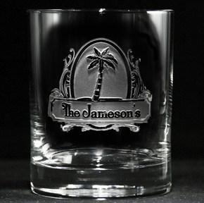 Personalized Palm Tree Whiskey Glass