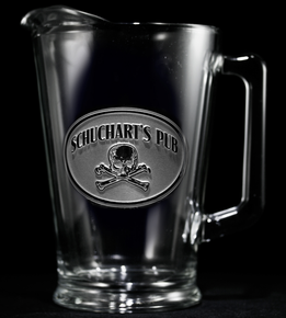 Personalized Skull and Bones Beer Pitcher