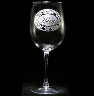 Personalized Victorian Monogram Wine Glass