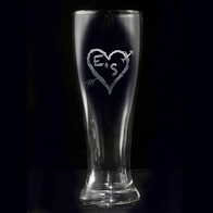 Pilsner Beer Glass, Heart and Arrow