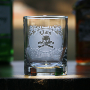 Skull and Bones Rocks Whiskey Glass