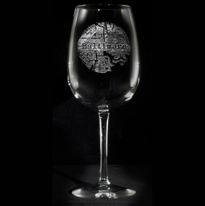 Street Maps Glassware, Hometown City Etched Wine Glasses