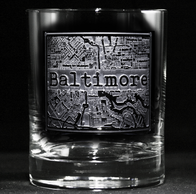 Street Maps Glassware, Hometown City Rocks Glass