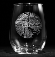 Street Maps Stemless Wine Glass