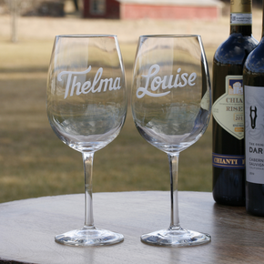 Thelma and Louise Engraved Wine Glass Gift Set