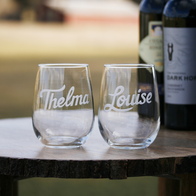 Thelma & Louise Engraved Wine Glass Set, Stemless