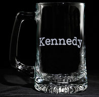 Typewriter Font Engraved Beer Mug