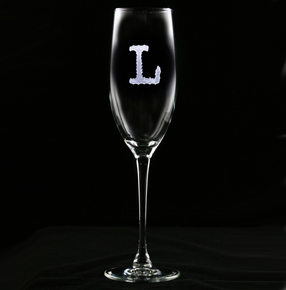 Typewriter Font Engraved Champagne Toasting Glass