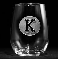 Typewriter Font Initial in Circle Stemless Wine