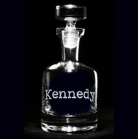 Typewriter Font Personalized Whisky Scotch Decanter
