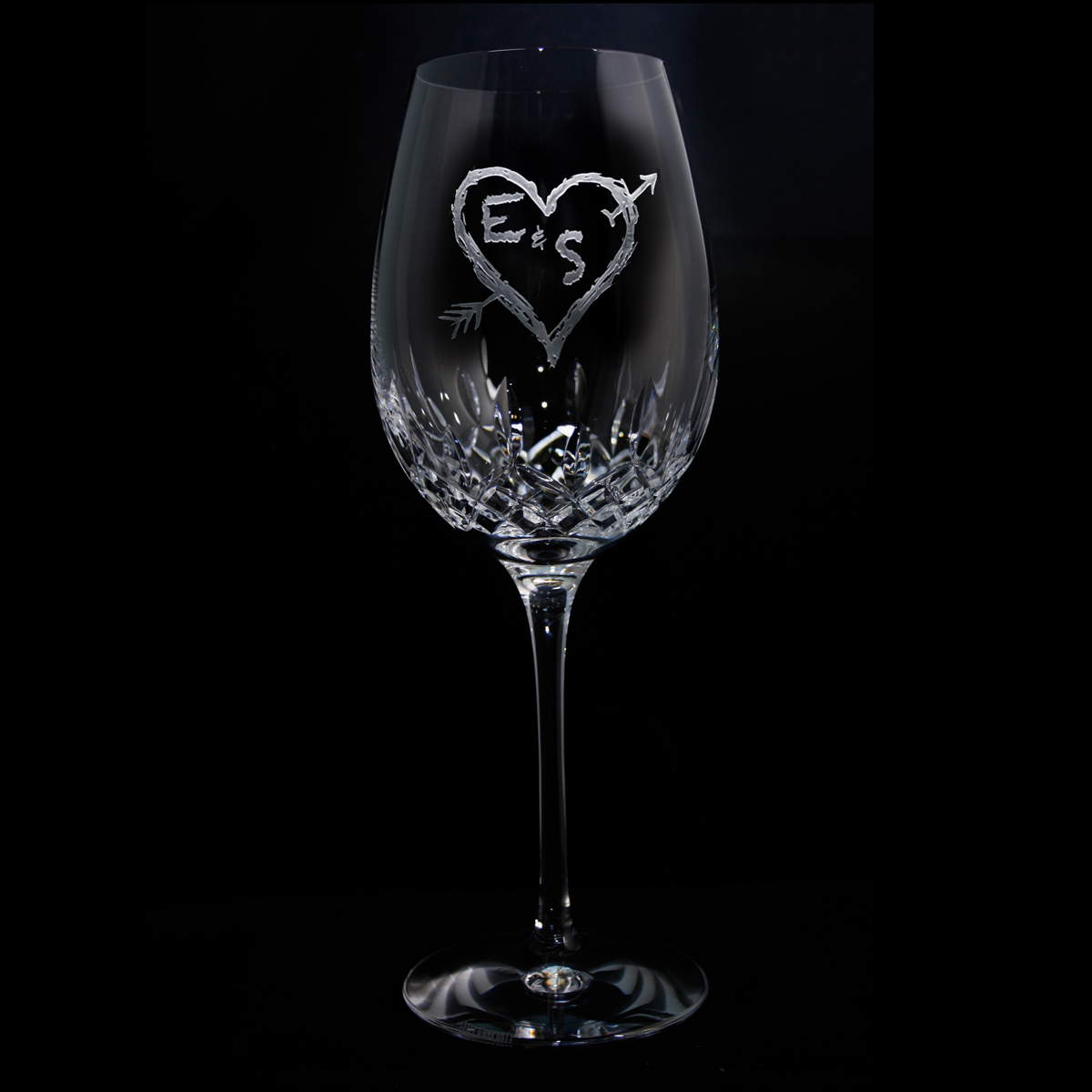 waterford wedding gift wine glass personalized initials heart