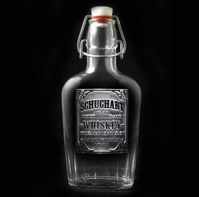 Whiskey Label Flask, Engraved