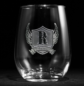 Wings and Shield Engraved Stemless Wine