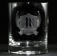 Wings and Shield Monogram Scotch Glass