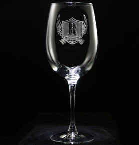 Wings and Shield Personalized Wine Glass