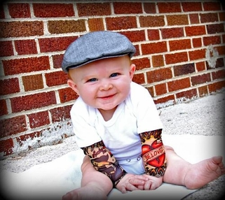 """Heartbreaker"" tattoo sleeve onesie for Boys or Girls"