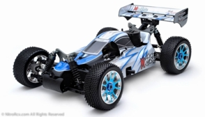 Exceed RC 1/8th Scale MadFire .21 Nitro Power 4WD RC Buggy Almost Ready to Run ARTR  for Beginners [Alpha Blue]