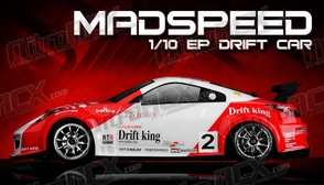 Exceed RC 2.4Ghz MadSpeed Drift King Brushless Edition 1/10 Electric Ready to Run Drift Car  (Red/White)