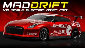 Exceed RC 2.4Ghz MadSpeed Drift King 1/10 Electric Ready to Run Drift Car (Red)