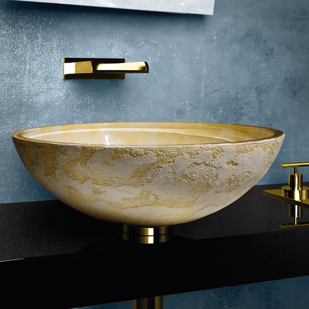 modern dual textured bathroom sink - atelier luna yellow  dual textured bathroom vessel sink