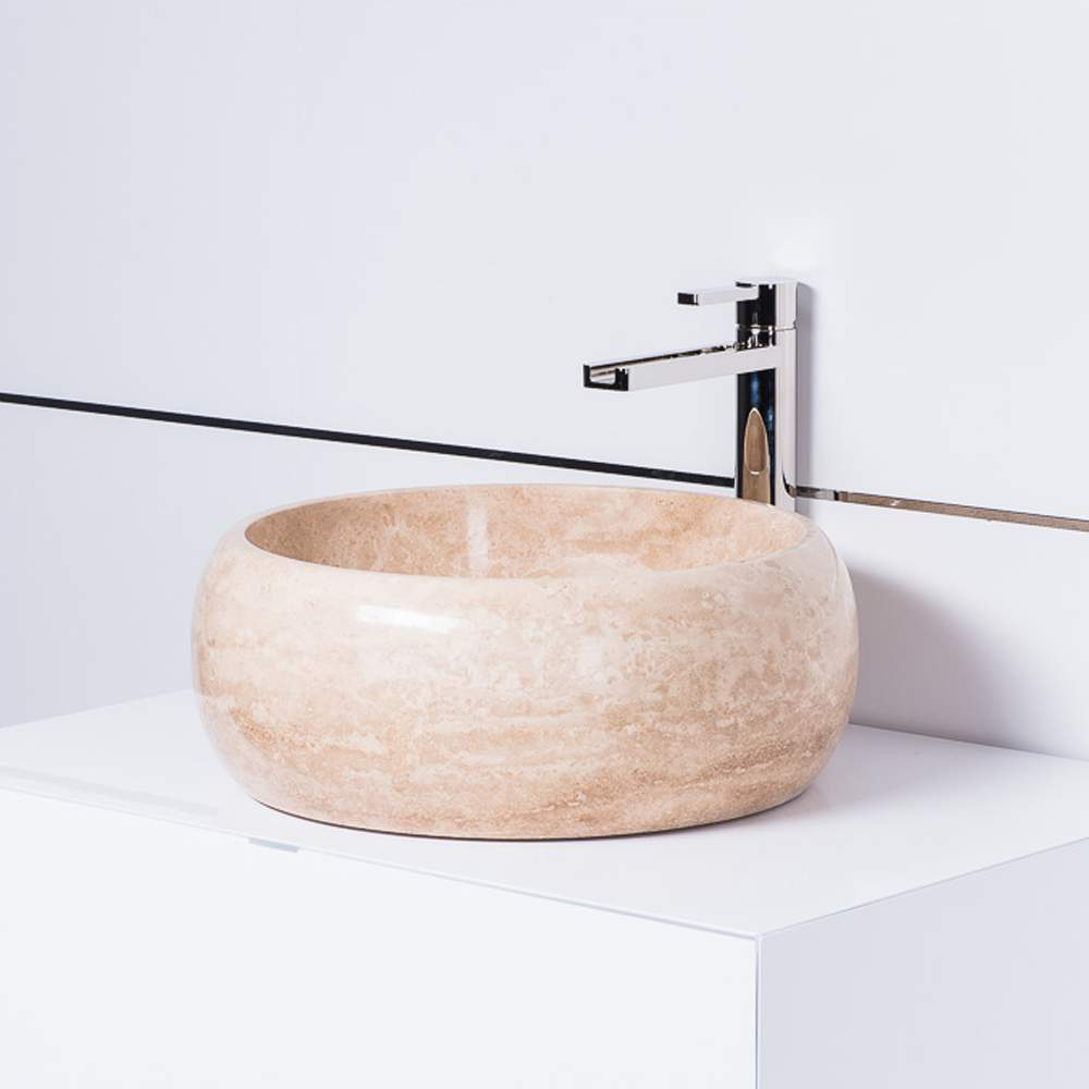 Curved Oval Polished Beige Travertine Platform Vessel Sink The Curves Of This Stone Vessel Sink Make It An Elegant Edition To Any Bathroom